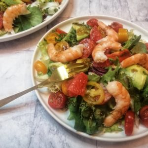 salade de crevettes et pamplemousse