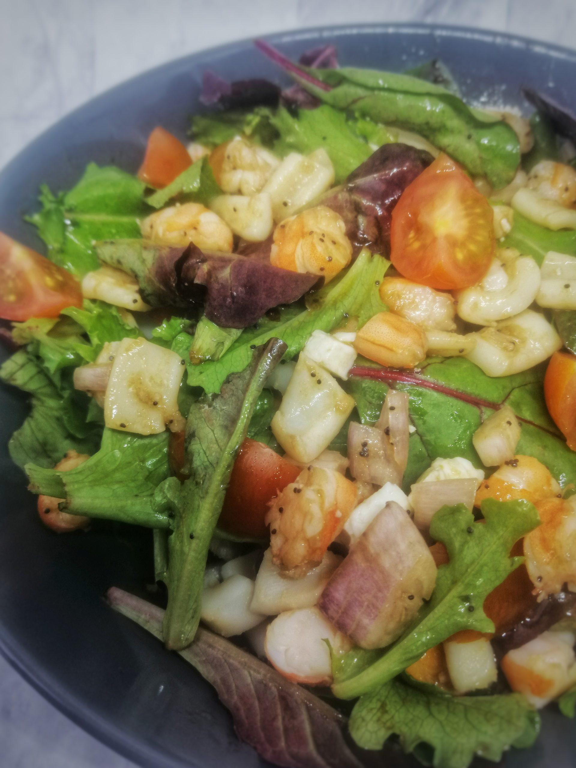 salade calamar crevettes vinaigrette au pavot