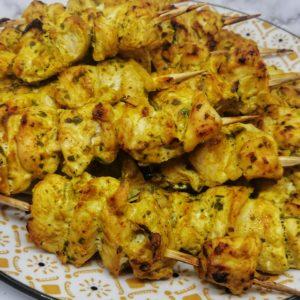 brochettes de poulet marinées au yaourt sans huile