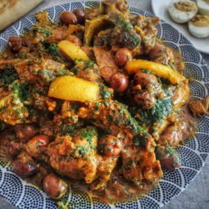 tajine de viande aux olives et persil