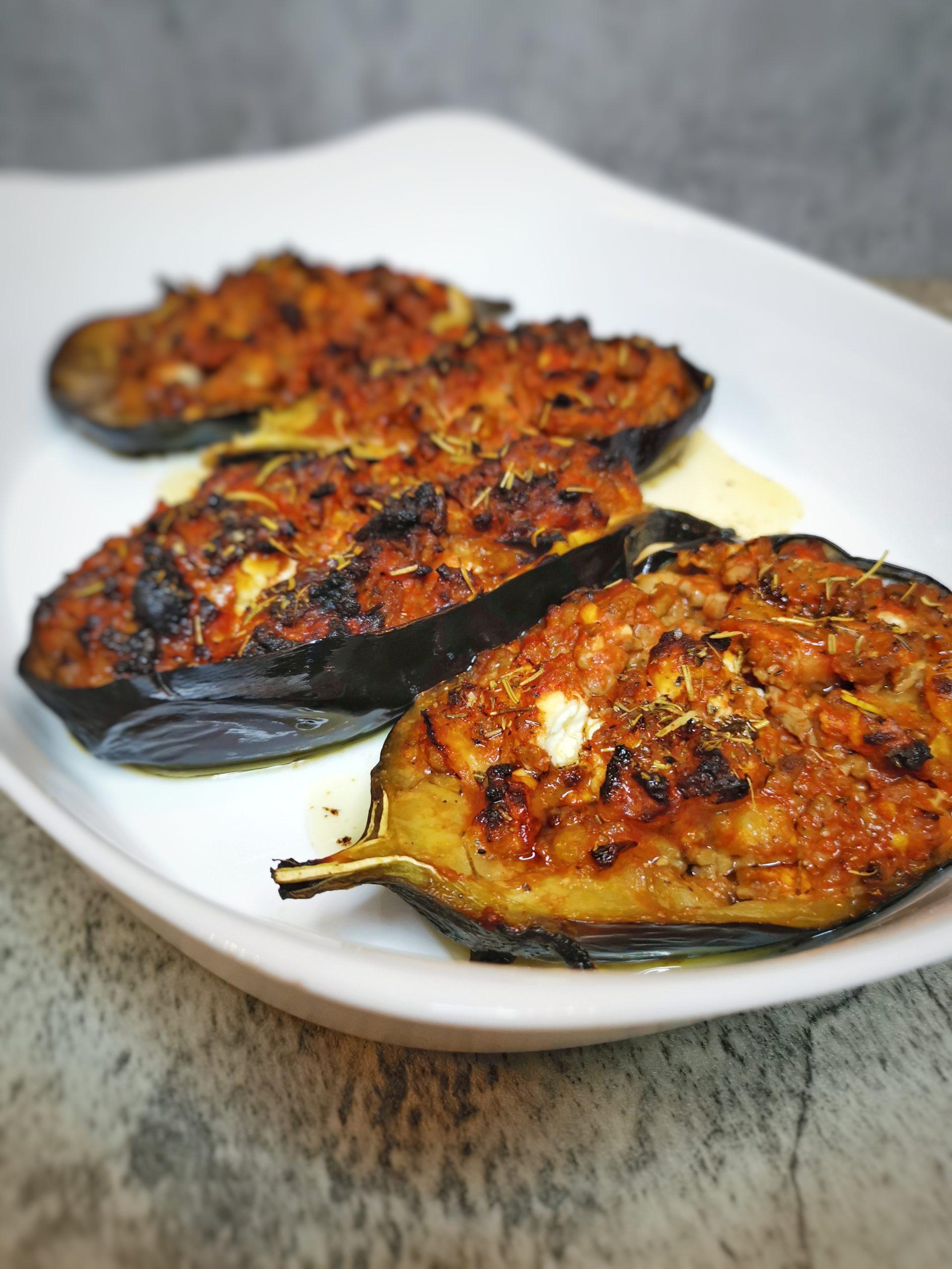 aubergine farcie feta viande hachée